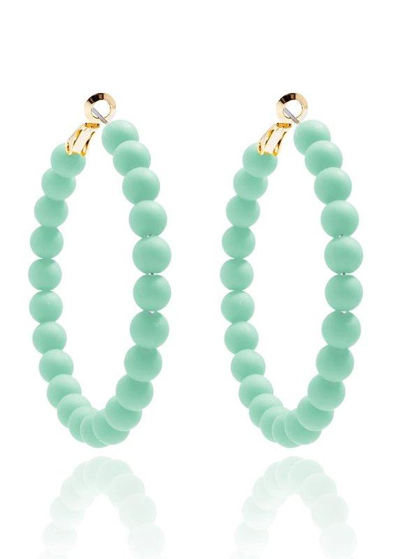 Matte Hoop Beaded Earrings   Mint