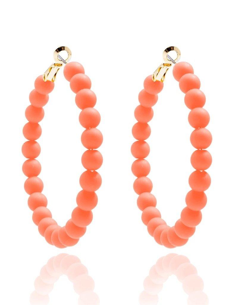 Matte Beaded Hoop Earrings Coral
