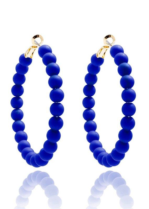Matte Beaded Hoop Earrings   Cobalt