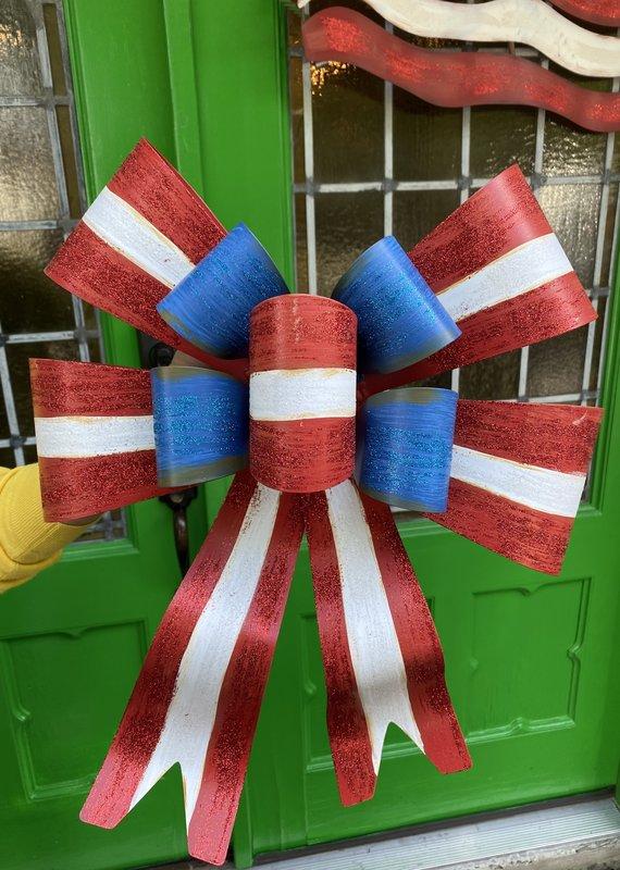 Patriotic Bow Metal Door Hanger