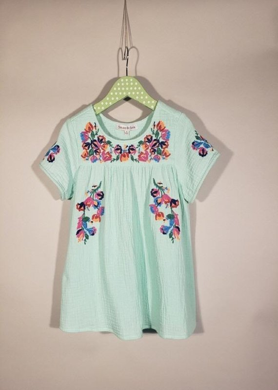 Mint Embroidery Short Sleeve Top