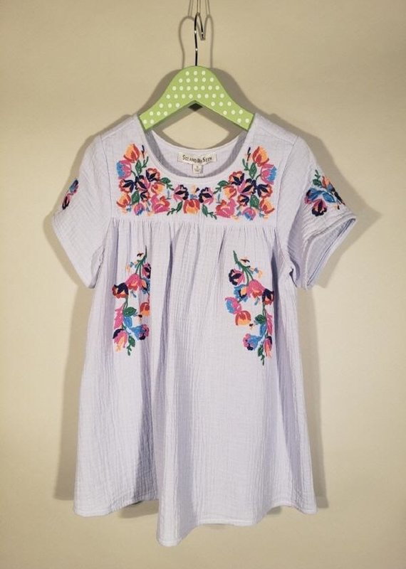 Sky Blue Embroidery Short Sleeve Top