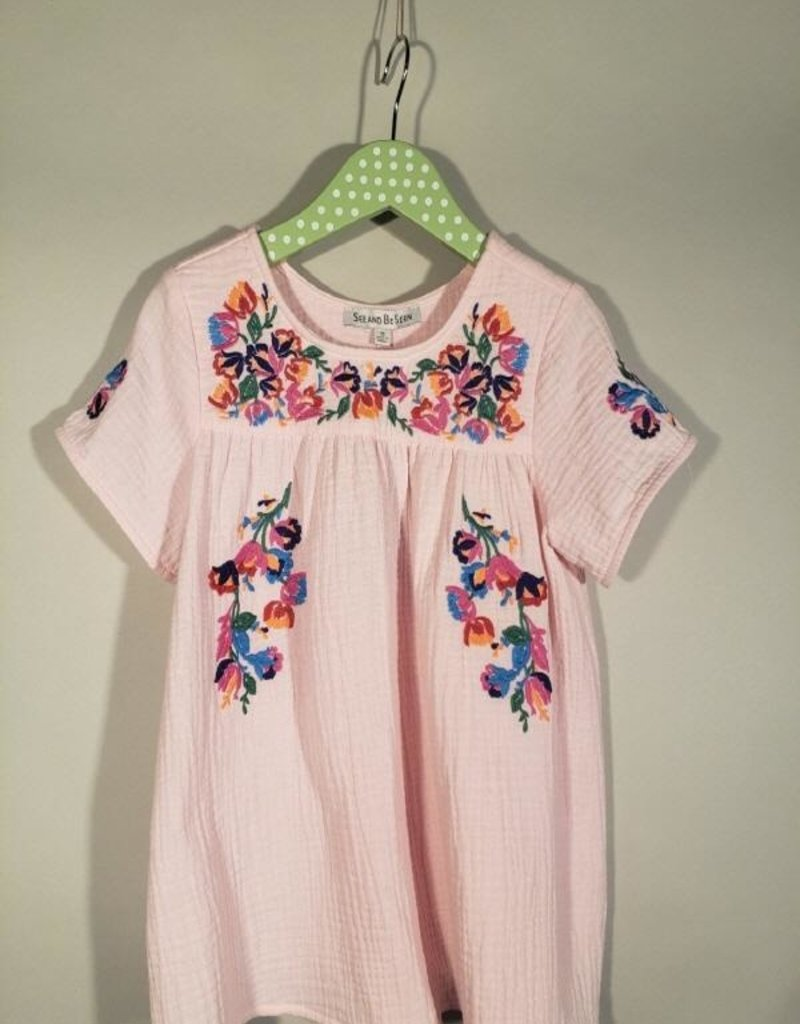 Pale Pink Embroidery Short Sleeve Top