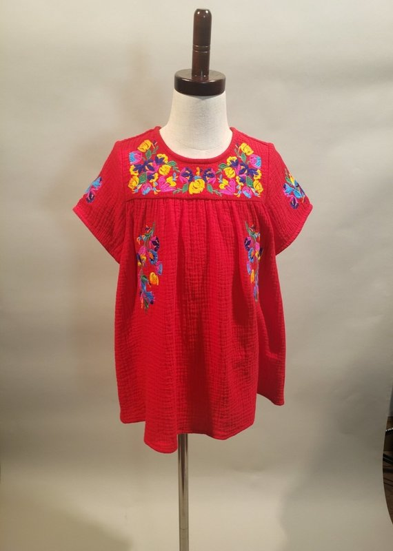 Red Embroidery Short Sleeve Top