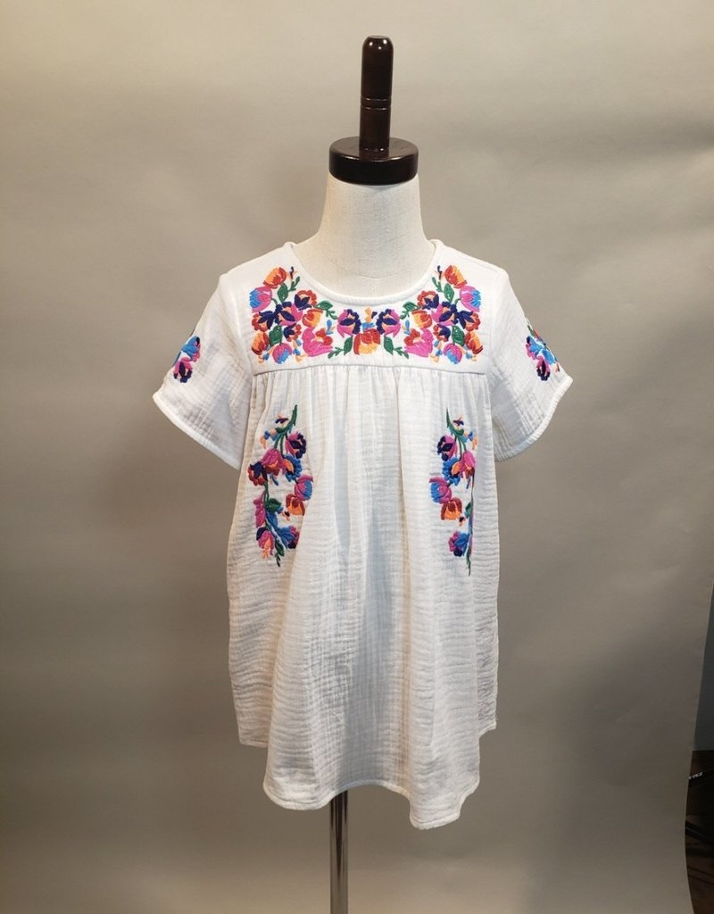 White Embroidery Short Sleeve Top