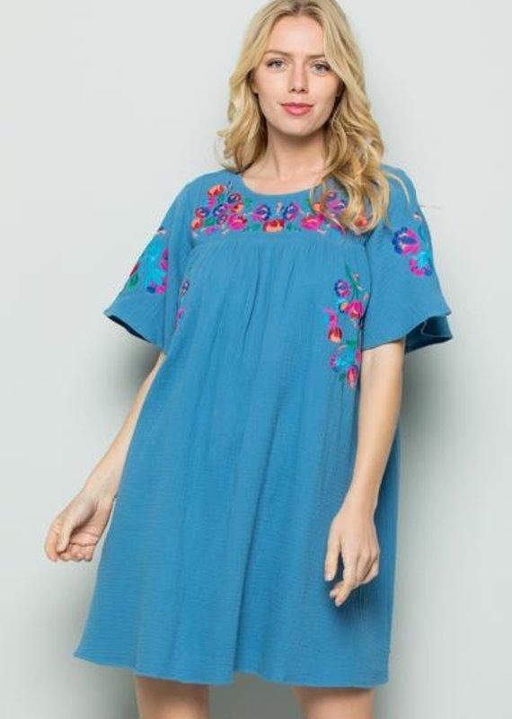 Blue Embroidery Detail Short Sleeve Dress