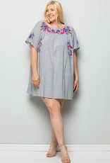 Black Stripe Embroidery Detail Dress