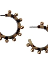 Brown Tortoise Studded Hoops