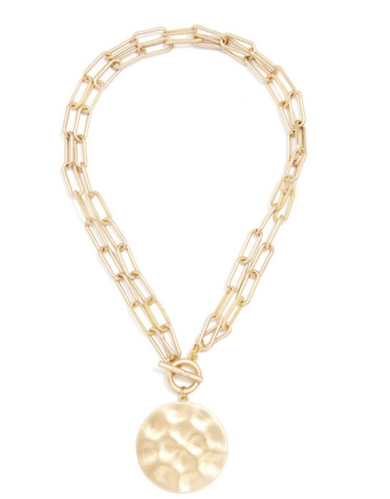 Double Strand Gold Link Coin Necklace