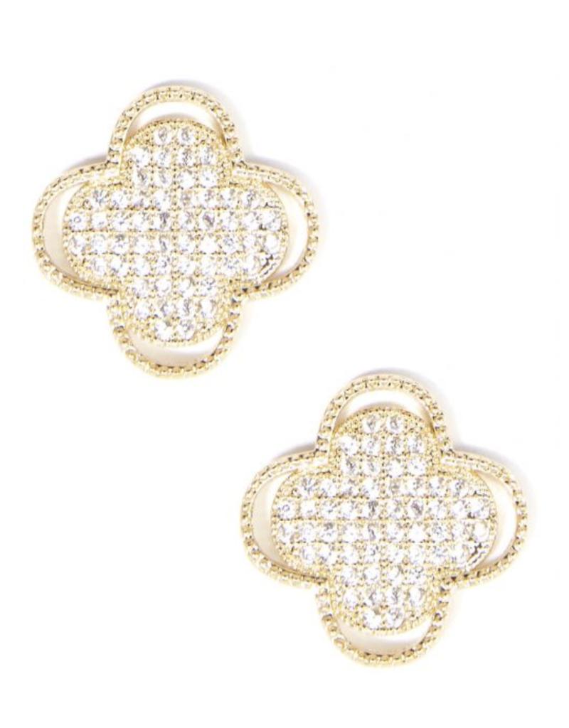 Gold Quatrefoil Stud Earrings