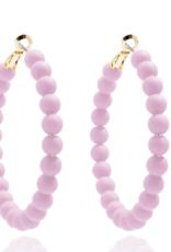 Matte Beaded Hoop Earrings Lavendar
