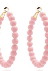 Matte Beaded Hoop Earrings Rose