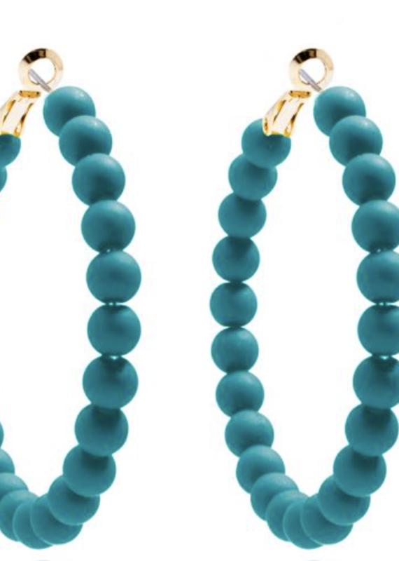 Matte Hoop Beaded Earrings Teal