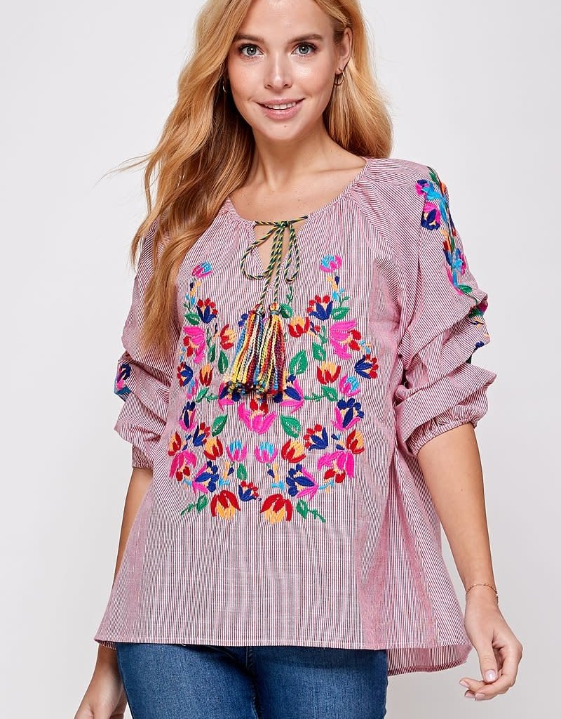 Red Floral Embroidery Stripe Blouse