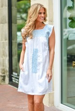 Embroidered Blue and White Sleevless Dress