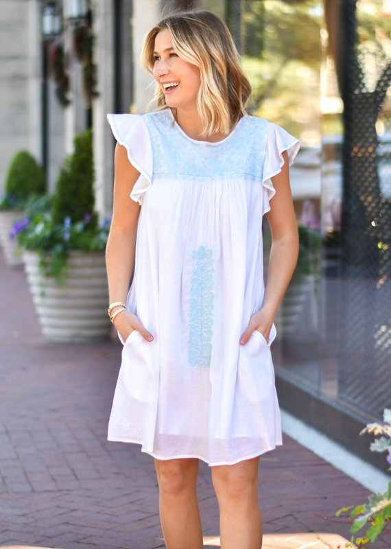 Embroidered Blue and White Flutter Sleeve Dress