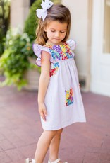 Embroidered Multi Colored Purple Striped Dress