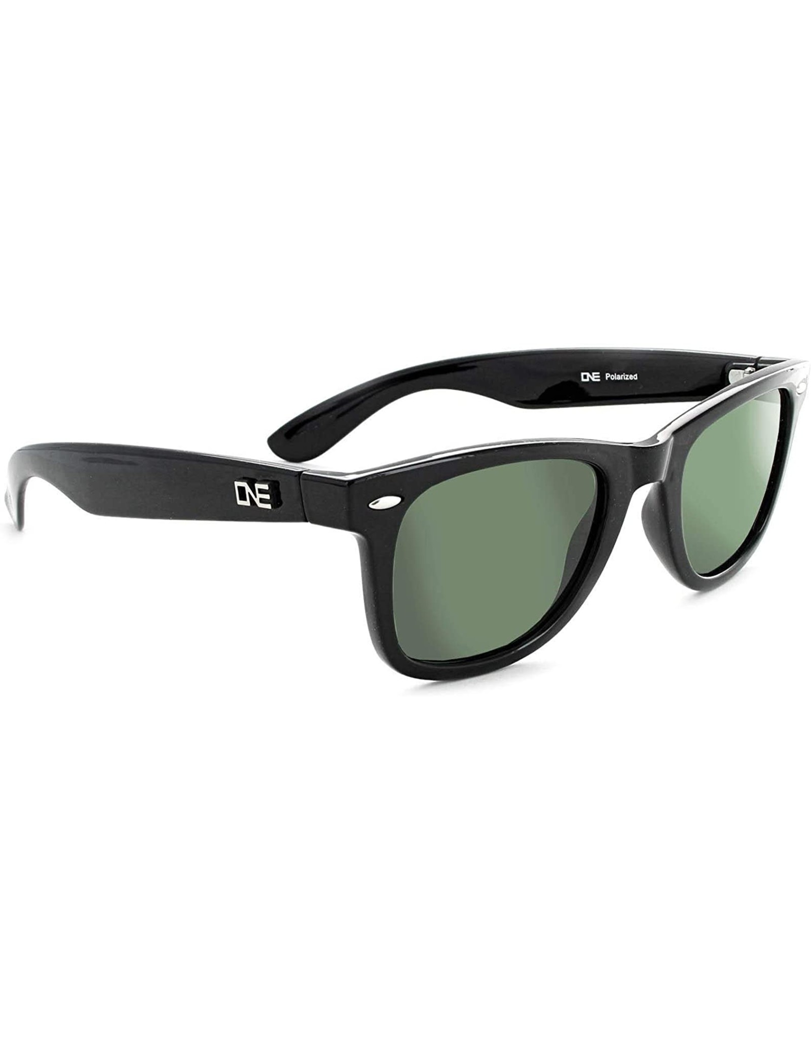 Optic Nerve ONE Dylan Polarized Sunglasses: Shiny Black with Polarized Gray Lens