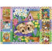 Cobble Hill Puzzles Cobble Hill Puppies and Posies Quilt Puzzle 1000pcs