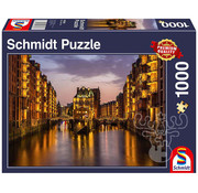 Schmidt Schmidt Hamburg – Nightfall in the Warehouse District Puzzle 1000pcs