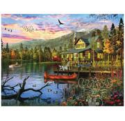 White Mountain White Mountain Sunset Cabin Puzzle 550pcs