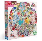eeBoo eeBoo Blue Bird, Yellow Bird Round Puzzle 500pcs