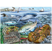 Cobble Hill Puzzles Cobble Hill Life in the Atlantic Ocean Tray Puzzle 35pcs