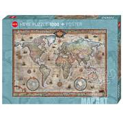 Heye Heye Map Art Retro World Puzzle 1000pcs
