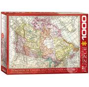 Eurographics Eurographics Dominion of Canada and Newfoundland Antique Map Puzzle 1000 pcs