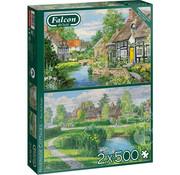 Falcon Falcon Riverside Cottages Puzzle 2 x 500pcs