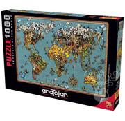 Anatolian Anatolian Butterfly World Map Puzzle 1000pcs