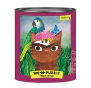 Mudpuppy Mudpuppy Frida Catlo Artsy Cats Puzzle Tin 100pcs