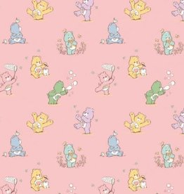 Pink Playful Care Bears Flannel