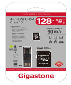 GIGASTONE (128GB) PRIME SERIES MICROSD CARD 4-IN-1 KIT