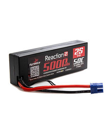 DYNAMITE 7.4V 5000MAH 2S 50C REACTION 2.0 HARDCASE LIPO BATTERY: EC3