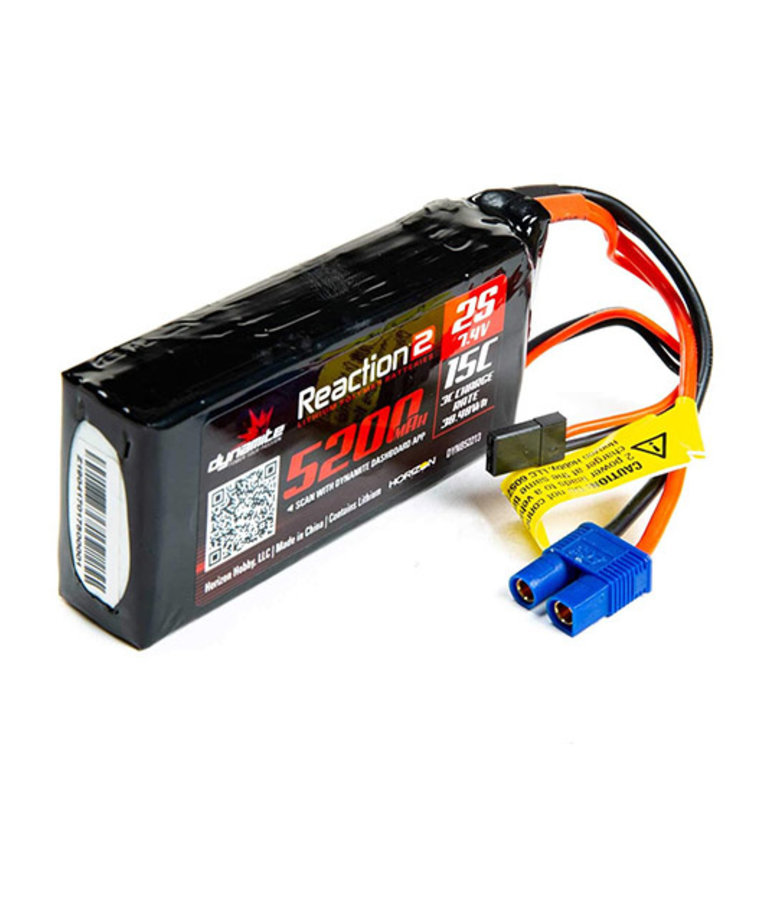 DYNAMITE 7.4V 5200MAH 2S 15C REACTION 2.0 LIPO BATTERY: UNIVERSAL RECEIVER