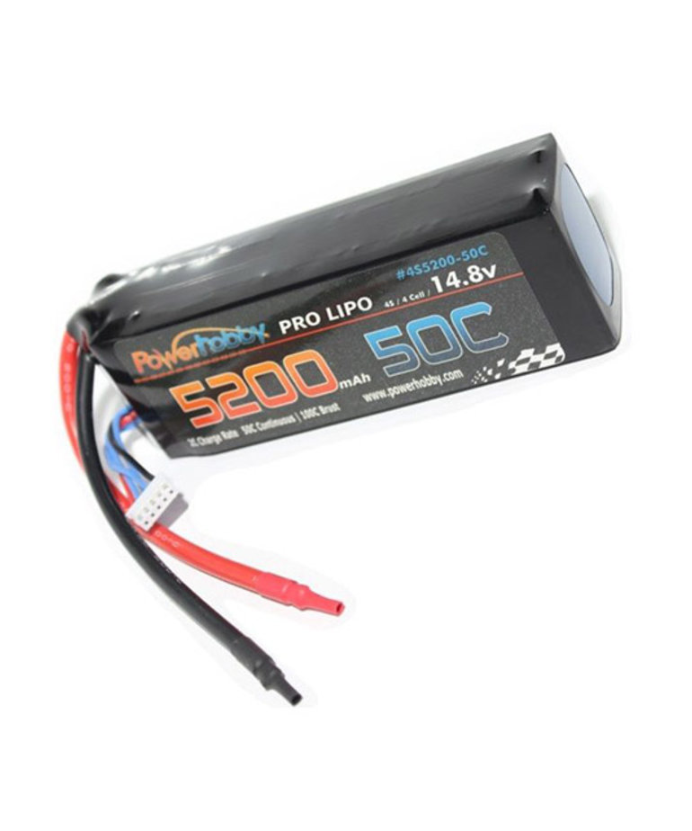 Power Hobby 4S 14.8V 5200MAH 50C HARD CASE LIPO BATTERY W/ XT90 CONNECTOR