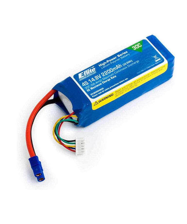 E-FLITE 2200MAH 4S 14.8V 30C LIPO 13AWG EC3