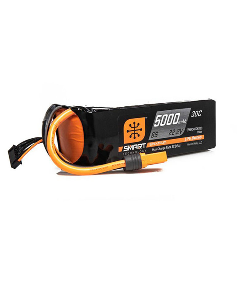SPEKTRUM 22.2V 5000MAH 6S 30C SMART LIPO BATTERY, IC5