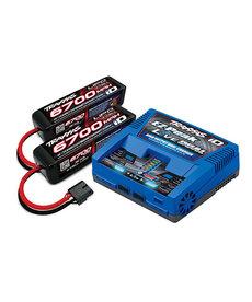 TRAXXAS Battery/charger pack (#2973 Dual charger (1), #2890X 6700mAh 14.8V 4-cell LiPo batt 2)