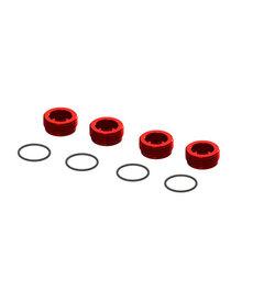 ARRMA Aluminum Front Hub Nut Red (4) inc O-Rings