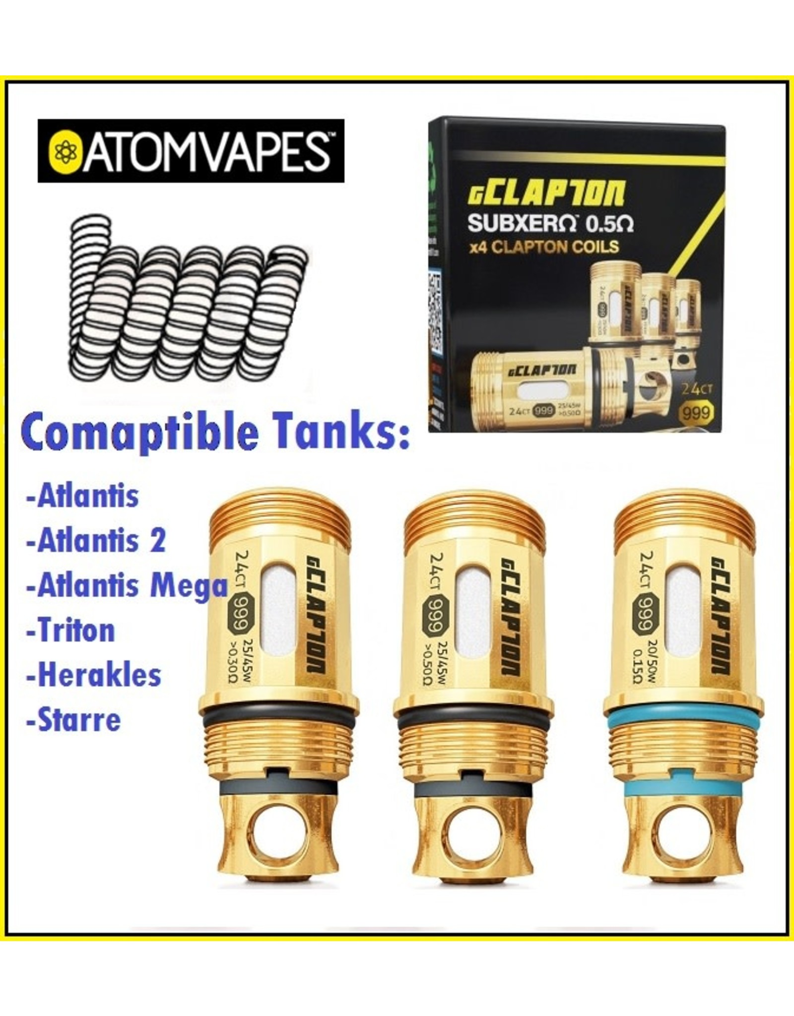 Atom Vape Ni200 TC GClapton 0.15ohm Crown 1