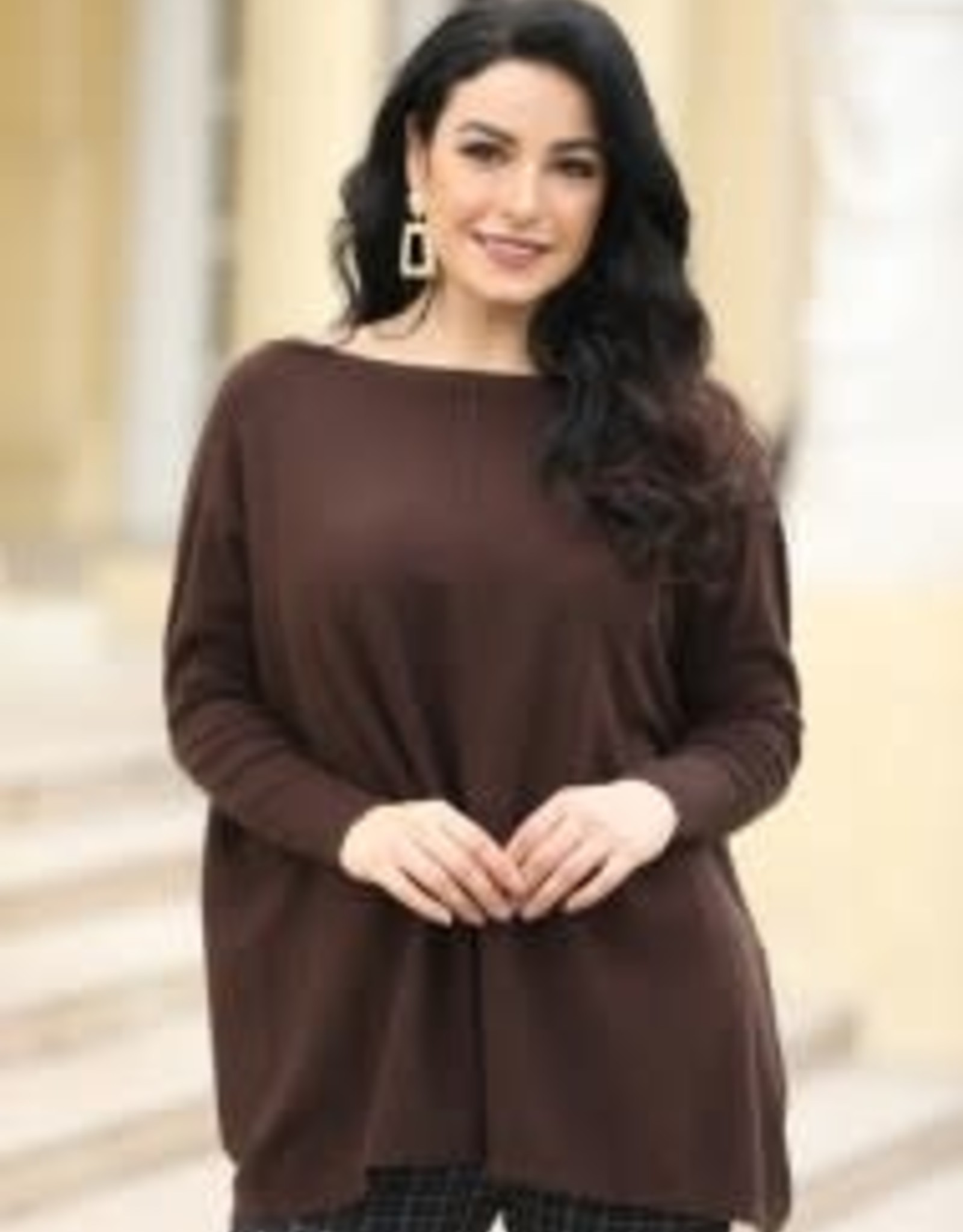 Cashmere Feel Boat Neck Tunic Top