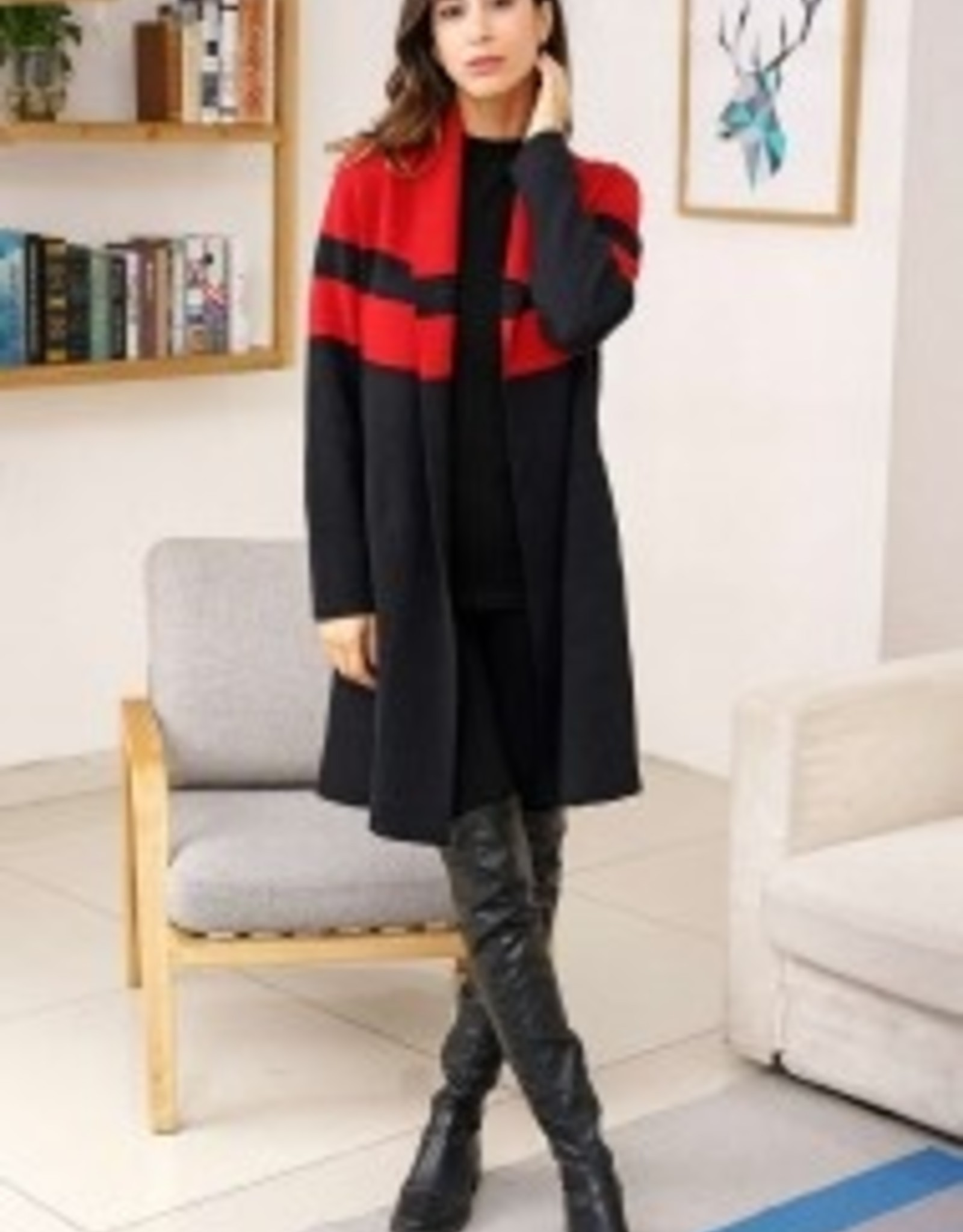 Two-Tone Color Contrast Block Coat with Pockets
