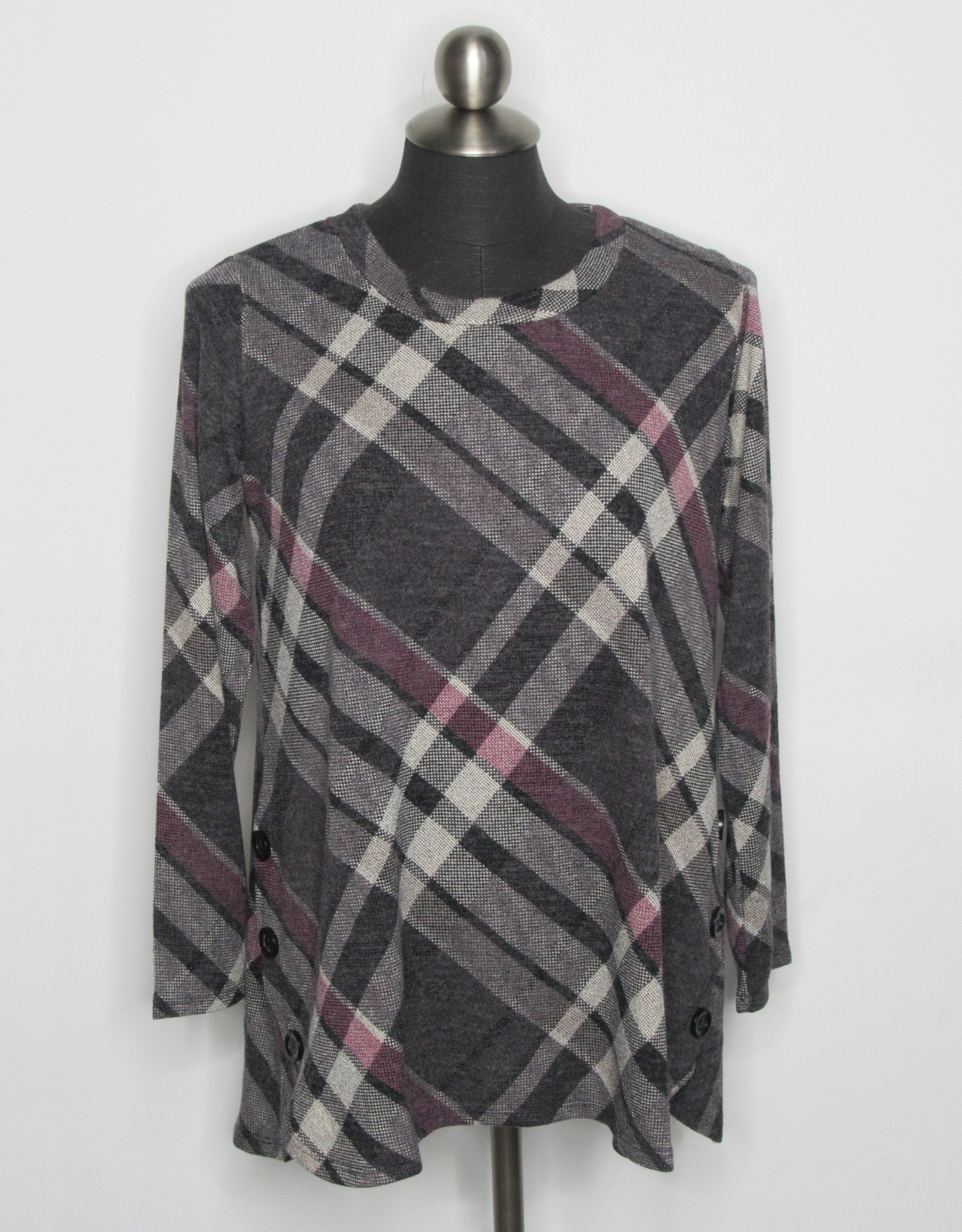Plaid Tunic with Button Details