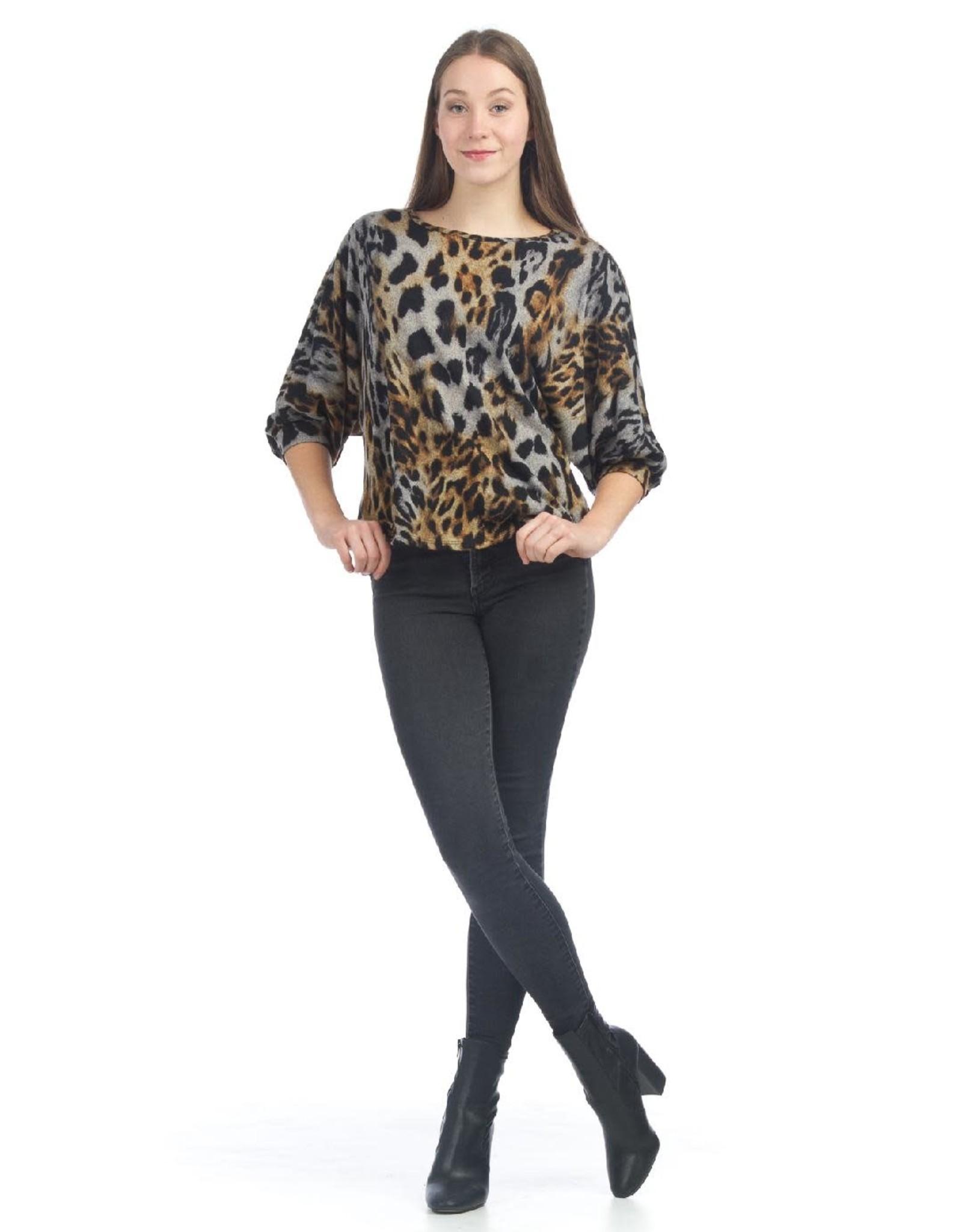 Leopard Print Knit Dolman Sleeve Sweater