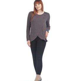 Knit Crossover Sweater with Button Detail