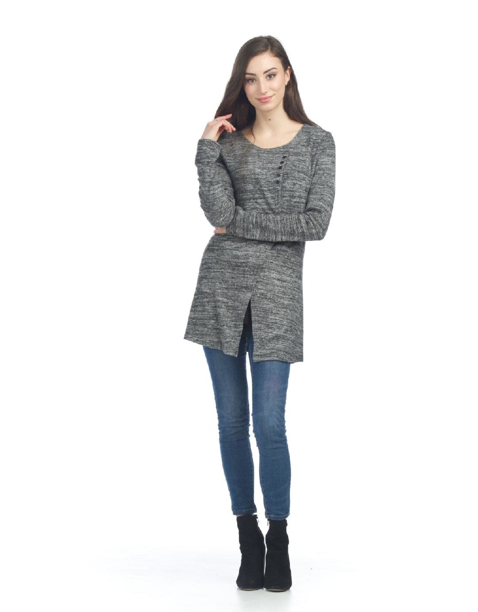 Long Sleeve Knit Tunic With Button Detail