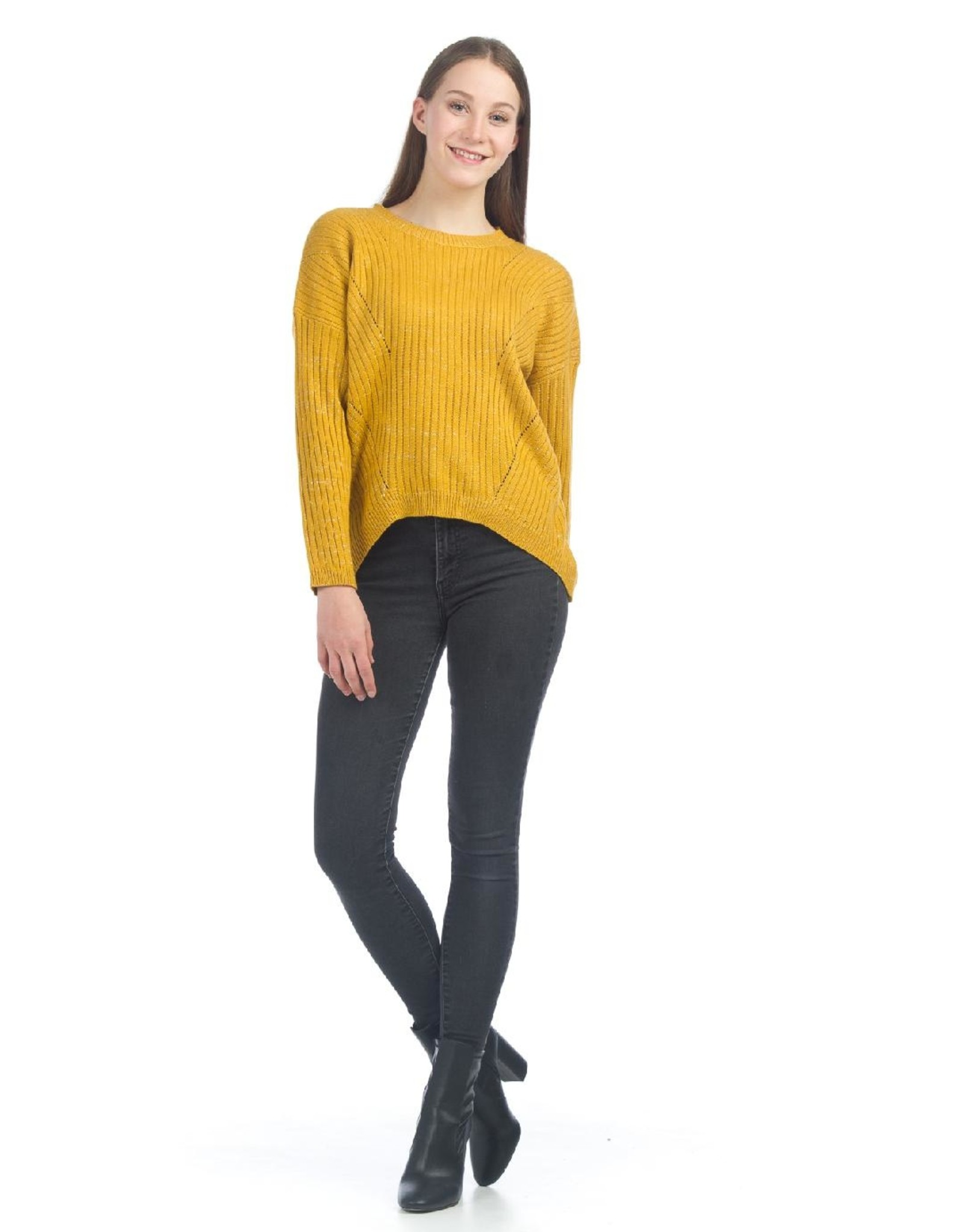 High Low Knit Sweater With Cut Out Design
