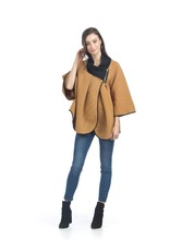Ribbed Cape/Jacket with Zip Closure
